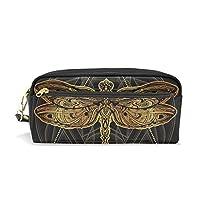 BKEOY Pencil Case Ethnic Boho Dragonfly Large Capacity PU Leather Pencil Pencil Bag Zipper Pen Pouch Cosmetic Makeup Bag