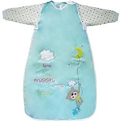 Dream Bag Moon and Back - Saco de dormir de manga larga para bebé (0,5 tog, 1 tog, 2,5 tog, tallas de 0 - 6 años) turquesa turquesa Talla:70 cm 1 Tog