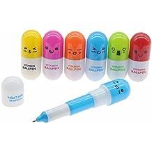 10Pcs Bolígrafos de Gel Retráctiles Cápsula Bolígrafos Píldora Medicina Creativo Lindo para Estudiantes Oficina ...