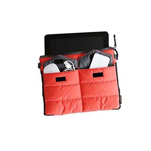 SHOP STORY–Compartimento Organizador de Bolsa Acolchada Funda molletonnée para iPad, Tablets y Smartphones dotée de una Gran Bolsillo de Almacenamiento así como de 3Bolsillos Exteriores–Rojo