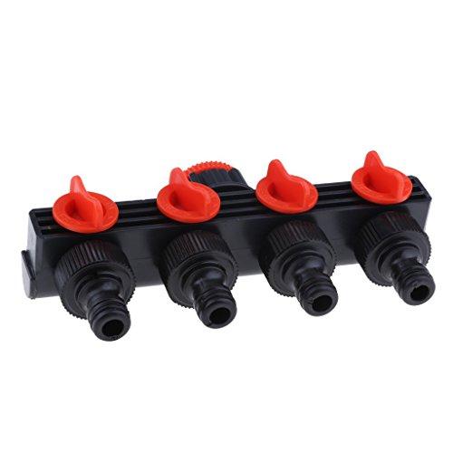 Homyl 3/4 '' Garten Schlauch Verteiler Wasserrohr Verbinder Wasser Rohr Verbindungsstück Adapter, 4 Wege (Automatische Wasser-absperrventil)