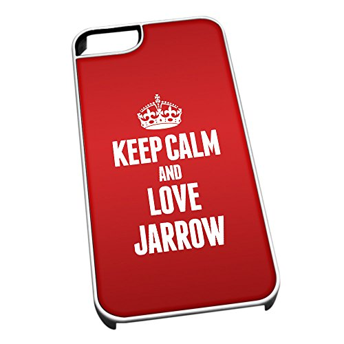 Duke Gifts Bianco Cover per iPhone 5/5S 0360 Red Keep Calm And Love Jarrow