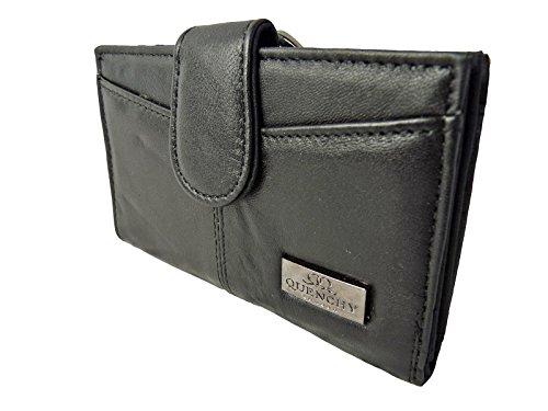 Leder Geldbörse Medium Größe Damen Metall Gerahmtes Damen Geldbörse QL226 - Schwarz Geschenkverpackung - Gerahmte Geldbörse Aus Leder