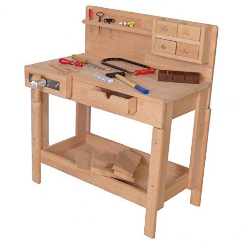 Holzspielzeug-Peitz Kinder-Werkbank 4014 - Massivholz-Hobelbank - Höhenverstellbar - Spannzange
