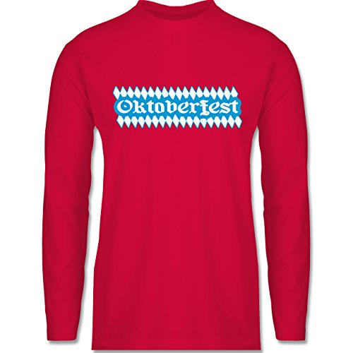 Oktoberfest Herren - Oktoberfest Rauten - Longsleeve / langärmeliges T-Shirt für Herren Rot