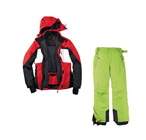 Skianzug 2tlg. Funktioneller Skianzug Für Herren M-6 Gr. 50 Farbe.Rot-Schwarz-Weiß-Grün Schneeanzug Thinsulate Skijacke