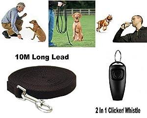 GadgetcKing Chien 10m en Laisse de Formation + 2 in 1 Sifflet Clicker, Outil d'aboiement de fréquence de Corde de Rappel d'obéissance Longue