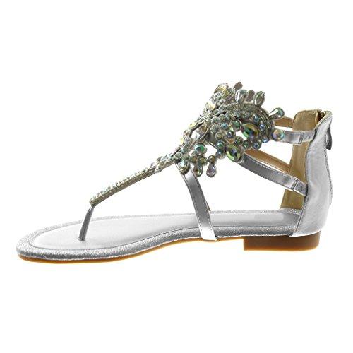 Di Caviglia Centimetro Pattino flangia Rhinestone Multi Donna Modo Sandalo Diamante 1 Cinturino Gioielli Infradito Denaro Tacco Angkorly 5ACqpf
