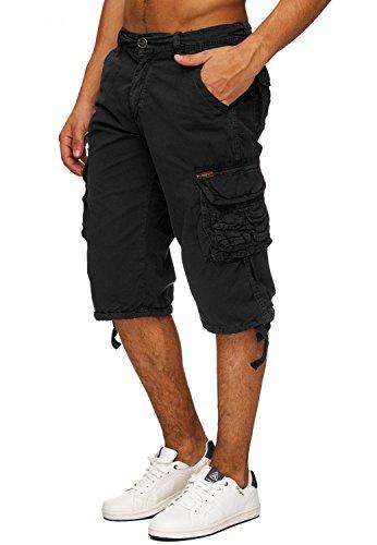 Herren Cargo Shorts Jeans Bermuda Hose Baumwolle H1740 Schwarz