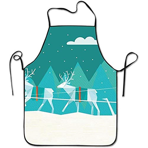 Zhengzho Abstrakte polygonale Illustration von Santa Sleigh in den Winter-Landschaftsdeluxe kochenden Schutzblechen, lustiges Mode-Kochs-Schutzblech trifft auf Männer und Frauen zu (Mode-illustration Textilien)