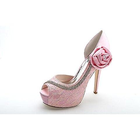 Ei&iLI Encaje satinado alta tacones Peep toe bombas de baile partido danza boda zapatos mujer , Black ,