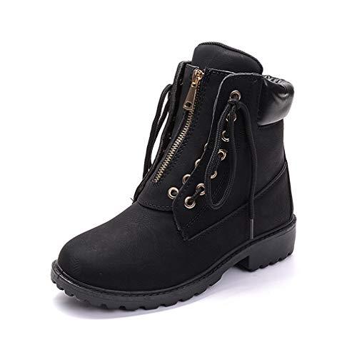 Women Ladies Ankle Boot Warm Snow Boots Girls Waterproof Winter Sneaker Lace up Chelsea Work Casual Hiking Low Heel Shoes Zip Size