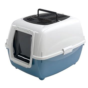 Ferplast Genica Maison de Toilette pour chats colori bleu. Système hermétique sans odeur