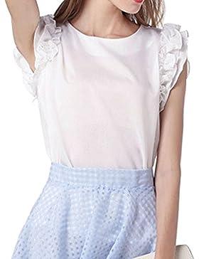 Las Mujeres Camisas Blusa De La Camiseta De La Gasa Ocasionales De La T Shirts Tops Blanco S