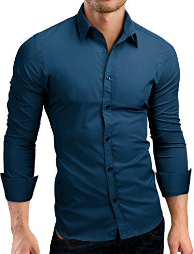 Grin&Bear Slim Fit Herrenhemd, Petrol, XXL, SH500