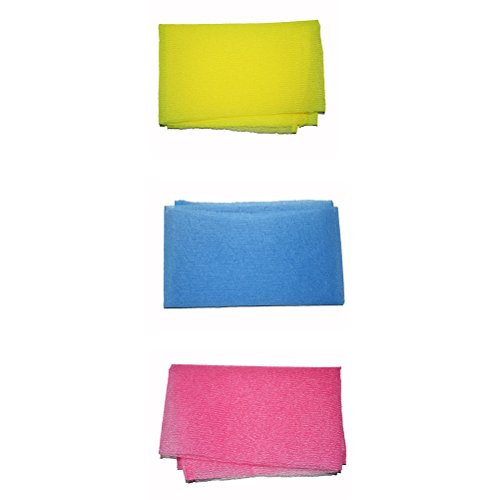 Peeling Körper Handtuch (Frcolor Set-Peeling-Handtuch Magic Waschlappen für Körper (Pink, Gelb, Blau))