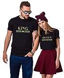 King Queen T-Shirt Pärchen Couple T Shirts Partner Geschenke für Paar 100% Baumwolle Partnerlook Tshirts Set Valentinstag Geburtstagsgeschenk (Schwarz + Schwarz, King-S + Queen-XXL)