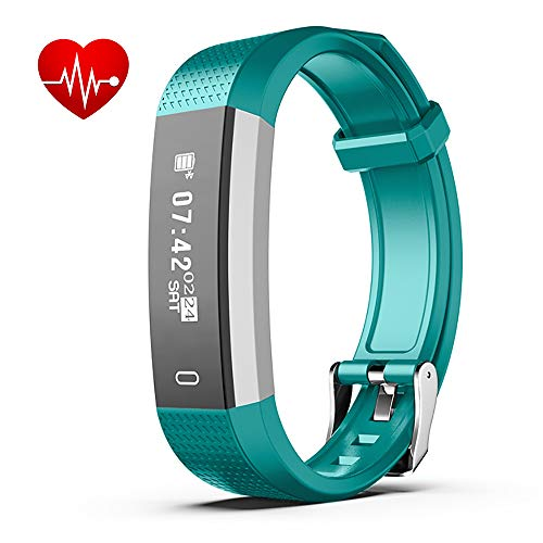Fitness wristband Activity Tracker Watch with Heart Rate Monitor, Wristband IP67 Bluetooth Waterproof Pedometer, GPS Step Tracker Calorie Counter, Android Fitness Smart Sportwatch for Kids Women Men