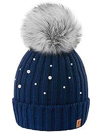 4sold Beanie Hat Mujer Sombreros con Bola Pequeña Lana De Invierno para Mujer  Gorro de Punto con Gran Pom Pom Cap Ski Snowboard… 15a431b675b