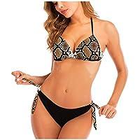 Sylar Mujer Bikini Push-up con Relleno Sexy Conjunto de Bikini Cuello Halter Bañadores de Natación 2 Piezas Estampado Floral Traje de Baño Dividido Tops y Braguitas Anudado Ropa de Playa