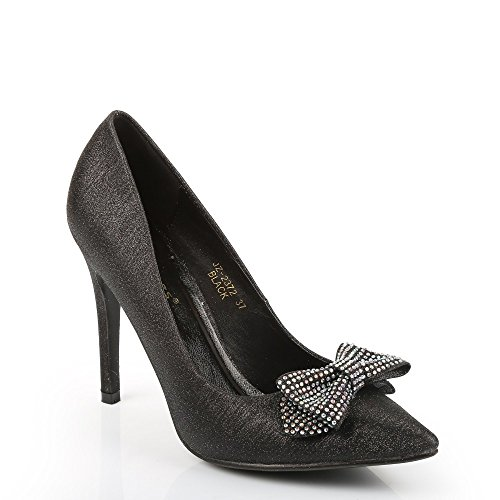 Ideal Shoes-Scarpe con paillette e decorati da un nodi la UD Sandrina incrostato con strass Nero (nero)
