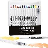 Stationery Island Penne Brush Pen con Vera Punta a Pennello - Pennarelli Acquarello Confezione da 12 Colori + 1 Pennello ad Acqua