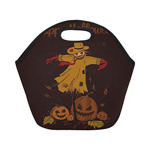 Isolierter Neopren-Lunch-Beutel Happy Halloween Scarecrow Straw Head Hexe Große, wiederverwendbare, dicke Thermo-Lunch-Tragetaschen für Brotdosen Für den Außenbereich, Arbeit, Büro, Schule