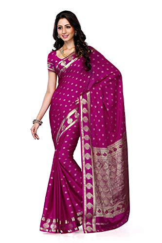 Women's Crepe Saree with Blouse Piece (2075-Rani,Rani,Free Size) Crepe Saree