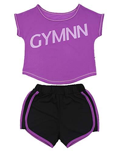 Echinodon Mädchen Sport-Set 2tlg Atmungsaktiv T-Shirt + Shorts Trainingsanzug für Jogging Yoga Sommer Violett 130