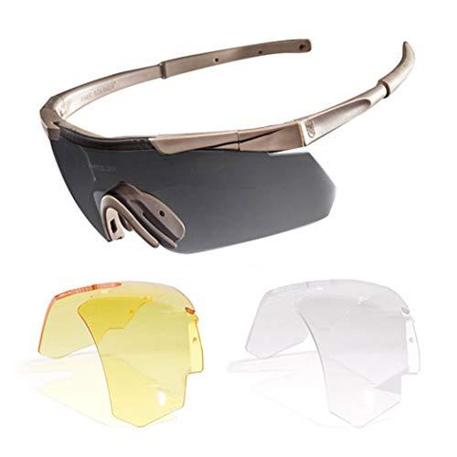 YONGYONG-Sunglasses Sonnenbrillen Racing Tactical Goggles Polarisierte Kugelsichere Brille Reiten Sport Sonnenbrillen Intelligente Sportbrillen (Farbe : Gelb)