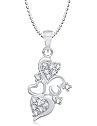 Valentine Gifts Meenaz Heart Pendant With Chain Silver Plated For Girls And Women PS190