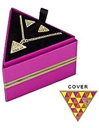 Guess UBS71302 caja de regalo rosa con collar y pendiente para el Logo en forma de triángulo y juego de dorado