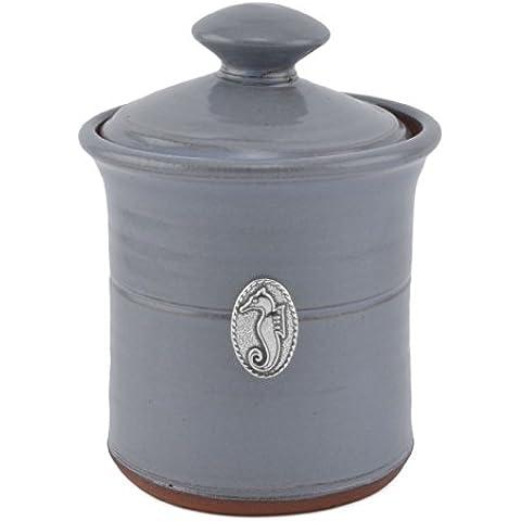 Oregon Stoneware Studio Seahorse Garlic Pot, Slate Blue by Oregon Stoneware Studio