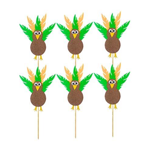 Amosfun 6 stücke Feder Truthahn Cupcake Topper Picks Thanksgiving Herbst Herbst Ernte Party Kuchendeckel Dekorationen
