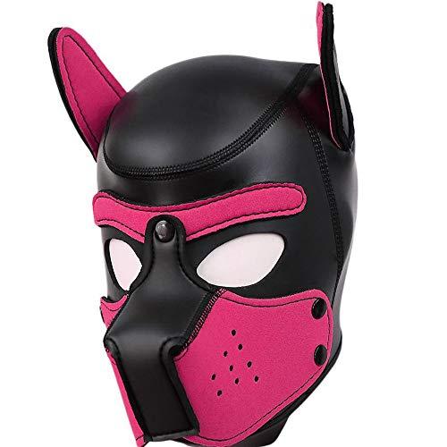 AmaMary sexy Cosplay welpenmaske, sexy Cosplay Rolle spielhund volle kopfmaske gepolsterte Gummi welpen spielmaske weich (heißes Rosa)