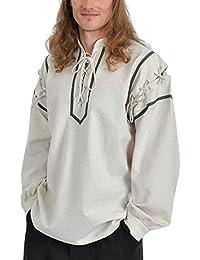 Chemise médiévale écuyer avec col droit et cordelette coton lin écru