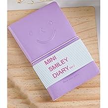 JxucTo Creativo Mini Smiley Diario personal Nota Cuadernos y diarios escolares Libros de papel (Púrpura)
