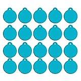 Delicacydex 20pcs Blank Pet ID Tags DIY Erkennungsmarken Runde Form Doppelseitige Hund Katze Welpen Kitty Identifikation Name Telefonnummer ID Tag - Lake Blue