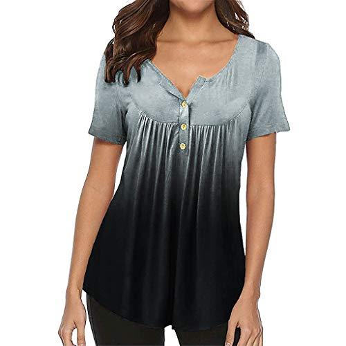 Damen Button Down Shirts MEIbax Damen Farbverlauf Bluse Kurzarm Sommer T-Shirt Damen OberteileLose Langarmshirt Tops