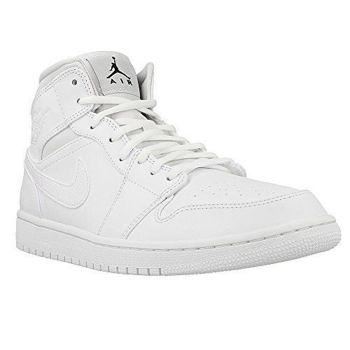 Nike Herren Air Jordan 1 Mid Sneaker, Weiß (White/Black-White), 44 EU