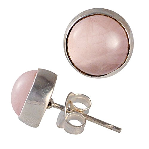 Creolen Rosenquarz Ohrringe (Silberohrstecker Rosenquarz rund Silberfassung Damen Ohrstecker 925er Sterling Silber)