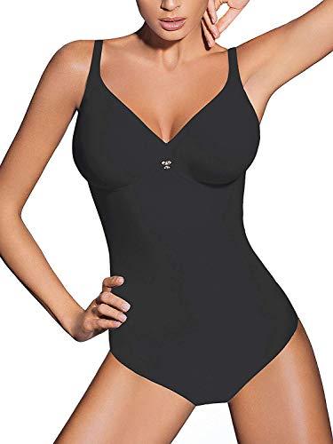 Lady bella pa0194 body intimo donna contenitivo e modellante senza ferretto - coppa c preformata non imbottita - tessuto doppiato per pancia piatta ed effetto snellente, bretelle larghe (nero, 5d)