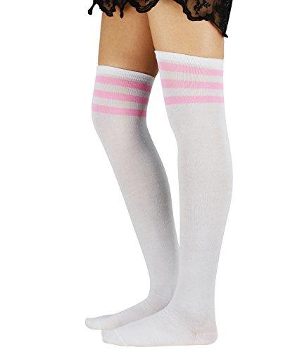 Azue Damen Baumwolle Dünn Über Knie-Lange Overknee Socken Sportsocken Kniestrümpfe Strümpf mit 3 Streifen Weiß und Pink Streifen One Size (Hoch Knie Dünne)