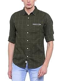 SHOWOFF Men's Slim Fit Casual Dark Green Checkered Shirt