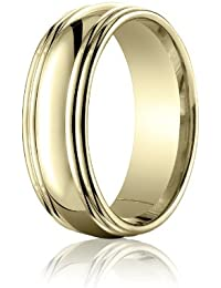 18ct Yellow Gold, 7.5mm Comfort-Fit Polished Double Round Edge Band (sz H to Z5)