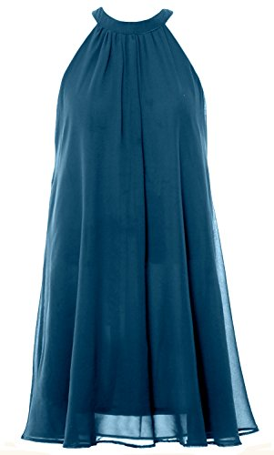 MACloth Women Halter Chiffon Cocktail Dress Short Wedding Party Formal Dress Teal