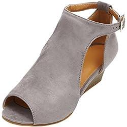 ASHOP Sandalias Mujer Bohemia Las Bailarinas Planas Zapatos de Cordones Verano Correa Peep Toe Moda Zapatillas De Playa Sandalias y Chanclas de Cuero Cómodo Y Elegante (39 EU, Gris)