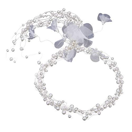 en Tiara Perle Stirnband Prinzessin Geburtstag Krone Blumenmädchen Braut Haarband für Hochzeit Party Haar Zubehör(Weiß, One size) ()