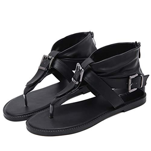 Lilicat Donna Sandali Estive Moda Comfort Toe Sandali Scarpe Camminare Piattaforma Sandalo Romano A Punta Piatta Fibbia in Pelle Tinta Unita Sandali (Nero,37 EU)