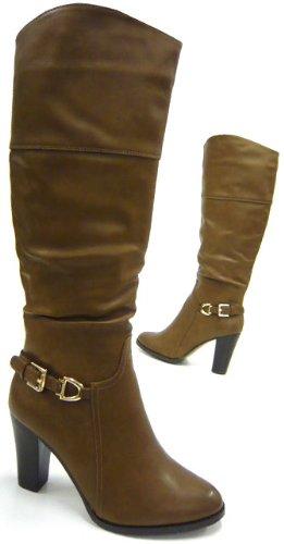 Kunst Fell gefütterte Damen Boots Elegante Damen Stiefel Beige